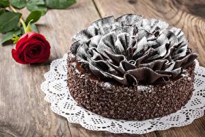 Картинка Сладости Торты Шоколад Розы Доски Дизайн Еда