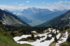 Картинки Швейцария Горы Пейзаж Альпы Снег Glarus, Mountain Glares, Braunwald Природа