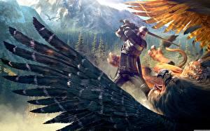 Фото The Witcher 3: Wild Hunt Чудовище Воители Сражения Доспехах Игры