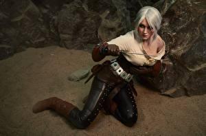 Фотография Ведьмак 3: Дикая Охота Воины Косплей Блондинка Cirilla Девушки