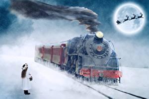 Картинка Поезда Железные дороги Олени Рождество Дымит Девочки Луны Санки