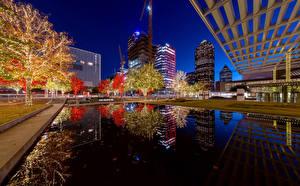 Обои США Дома Вечер Пруд Техас Гирлянда Dallas Города