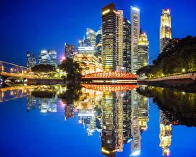 Фотография США Дома Река Мосты Вечер Чикаго город Отражение Города