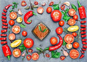 Фотография Овощи Томаты Перец Острый перец чили Дизайн Кетчуп