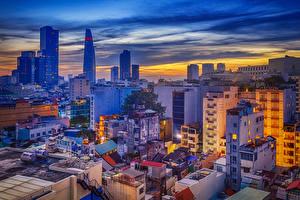 Картинка Вьетнам Дома Вечер Краши Saigon Города