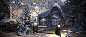 Фотографии Зимние Дома Снег Ели Забора Деревянный 3D Графика