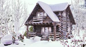 Картинки Зимние Здания Снег Бревна Дизайн Деревянный 3D Графика