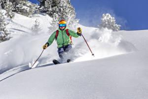 Фотографии Зимние Лыжный спорт Мужчины Снегу