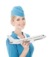 Картинки Самолеты Белом фоне Блондинка Стюардесса Улыбка Взгляд молодые женщины