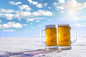 Картинки Пиво 2 Кружка Пене Еда