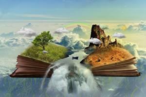 Картинки Лодки Водопады Книги Скале Трава Дерево Облако Фантасмагория Фантастика