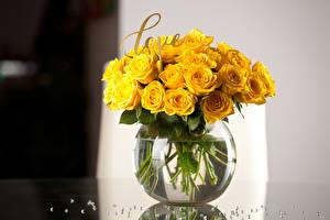 Картинки Букеты Розы Вазе Желтые Английский цветок