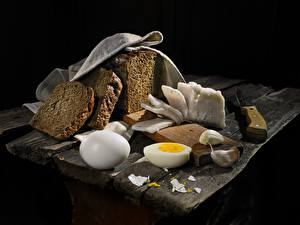 Фотография Хлеб Чеснок Сало Яйца Пища