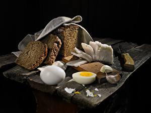 Фотография Хлеб Чеснок Сало Яйца