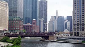 Фотография Мост Небоскребы Америка Чикаго город Заливы