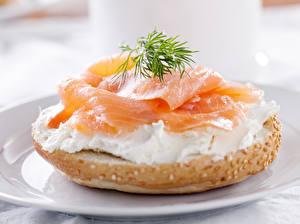 Фото Булочки Рыба Укроп Бутерброд Продукты питания