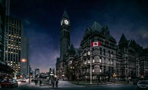 Фотография Канада Торонто Башня Ночь Улице Города