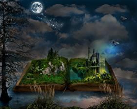 Фото Замки Ночные Луны Деревьев Книга Трава Фантасмагория Фэнтези