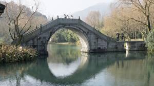 Фотография Китай Мосты Осенние Арка Moon bridge, Peking Города