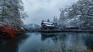 Обои Китай Парки Озеро Дома Зима Снег Hangzhou город