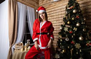 Фотографии Рождество Новогодняя ёлка Униформа Шар Шапки Улыбка Девушки