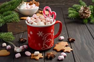 Картинки Новый год Печенье Маршмэллоу Кружка Продукты питания
