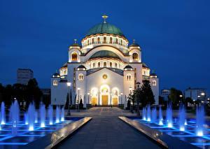 Фото Церковь Фонтаны Религия Сербия Ночные Уличные фонари Купол Крест Temple Of Saint Sava, Belgrade Города