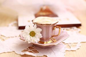 Картинка Кофе Капучино Ромашки Чашке Еда