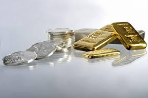 Фотографии Монеты Деньги Золото Много Слитка Золотой