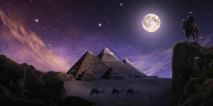 Фото Египет Пустыни Верблюды Пирамида Ночные Скале Луной Giza Фэнтези