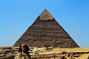 Обои Египет Пустыни Пирамида Sphinx, Giza город