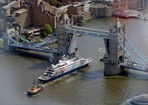 Обои Англия Речка Мосты Корабли Лондон Сверху Thames, Tower bridge город