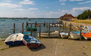 Обои Англия Речка Причалы Лодки Bosham Quays