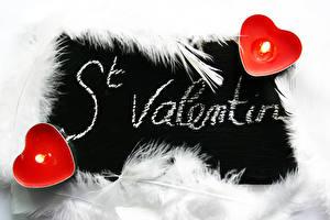 Фотографии Перья Свечи Огонь День всех влюблённых Сердце Английская