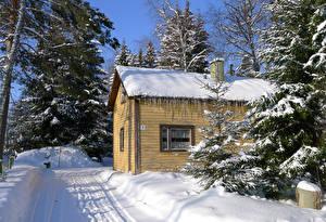 Картинки Финляндия Зимние Здания Снегу Heparo Kymenlaakso Города