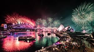 Фотографии Салют Мосты Австралия В ночи Сидней Залив город