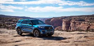 Фотографии Форд SUV Голубой Металлик 2019 Explorer ST