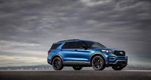 Обои Ford Синие Сбоку Explorer ST Автомобили