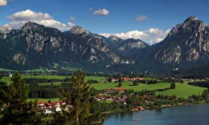 Обои Германия Горы Дома Бавария Bebele Природа