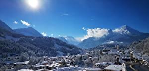 Фото Германия Горы Здания Зима Снег Berchtesgaden Природа Города