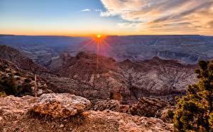 Картинка Гранд-Каньон парк США Горы Рассветы и закаты Пейзаж Каньон Arizona Природа