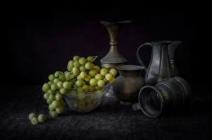 Обои Виноград Натюрморт Кувшины Продукты питания