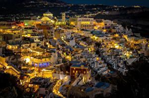 Фотографии Греция Фира Дома Ночью Города