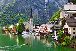 Фото Халльштатт Австрия Озеро Церковь Лодки Причалы Gmunden County Города