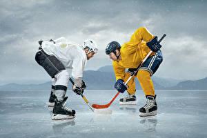 Обои Хоккей Мужчины Каток Две Униформа В шлеме спортивные