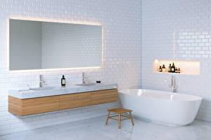 Фотографии Интерьер Дизайн Ванная Зеркала 3D Графика