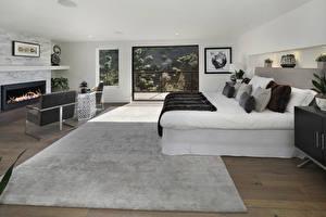 Фотография Интерьер Дизайн Спальня Кровать Ковер Подушки