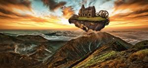 Фотографии Остров Горы Рассветы и закаты Руины Шестеренки Фэнтези