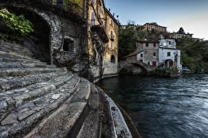 Фотографии Италия Озеро Здания Лестница Nesso