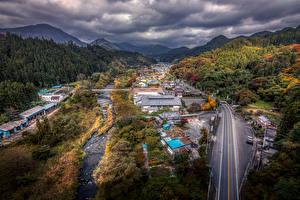Обои Япония Здания Дороги Лес Осень HDR Gunma Города
